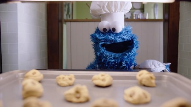 Cookie Monster baking cookies